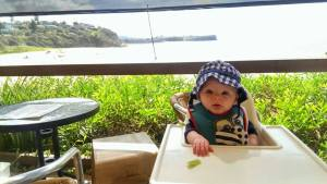 Food with a view, in the ubiquitous Antiplop high chair.